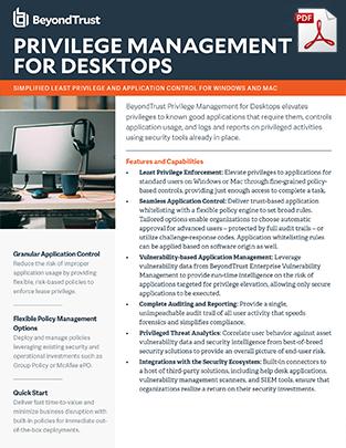 BeyondTrust Privilege Management for Desktops Datasheet Web Picture