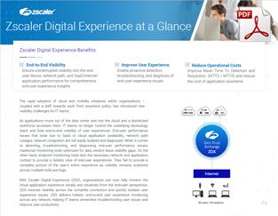 Zscaler Digital Experience ZDX Datasheet